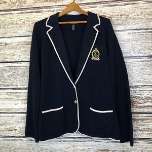 Lauren Ralph Lauren Navy Blazer Sweater Crest 3X